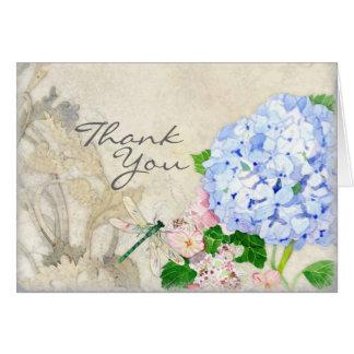 English Garden, Blue n Pink Hydrangeas Watercolor Greeting Cards