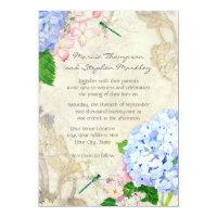 English Garden, Blue n Pink Hydrangeas Watercolor Invitation