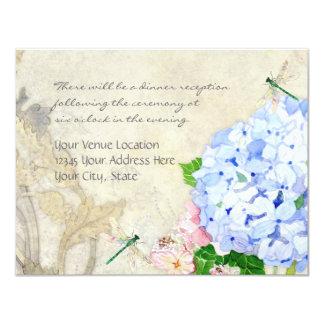 English Garden, Blue n Pink Hydrangeas Watercolor 4.25x5.5 Paper Invitation Card