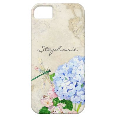 English Garden, Blue n Pink Hydrangeas Watercolor iPhone SE/5/5S Case