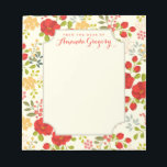 """English Garden Floral Personalized Desk Notepad<br><div class=""""desc"""">A spring time pattern of whimsical greenery and garden flowers in colorful red, coral, gold and teal adorn this pretty notepad. Personalized with your heading and name on the front cover. Shown on a creamy ivory background which gives it a feminine and modern vintage look. Perfect for writing notes to...</div>"""