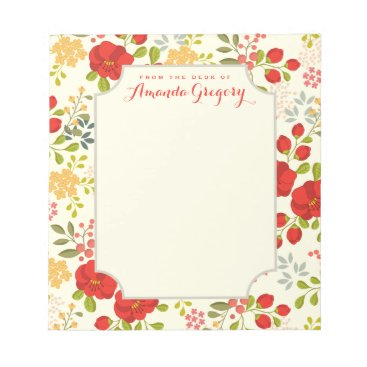 kat_parrella English Garden Floral Personalized Desk Notepad