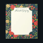 """English Garden Floral Personalized Desk Notepad<br><div class=""""desc"""">A spring time pattern of whimsical greenery and garden flowers in colorful red, coral, gold and teal adorn this pretty notepad. Personalized with your heading and name on the front cover. Deep marine blue background gives it a feminine and modern vintage look. Perfect for writing notes to school, making to-do...</div>"""