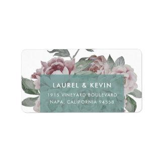 English Garden Floral Return Address Labels   Jade