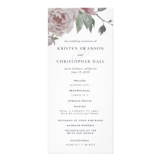 English Garden Floral Wedding Program