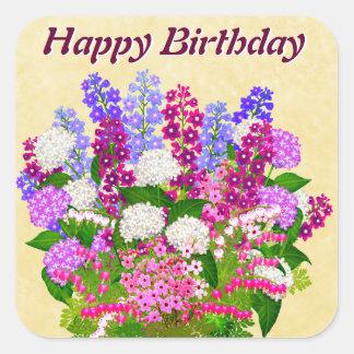 English Garden Flowers Happy Birthday Sticker