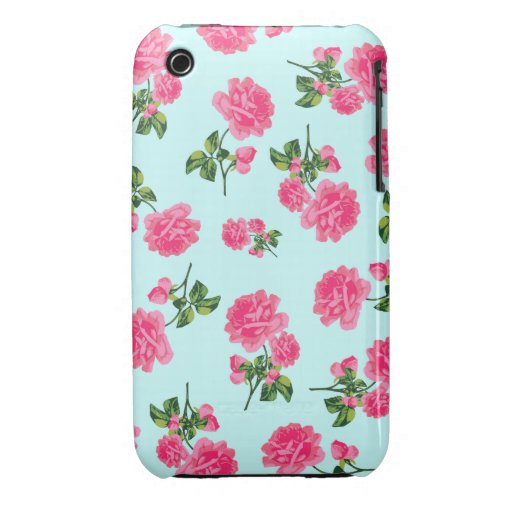 English garden pink roses iphone 3 case - blue