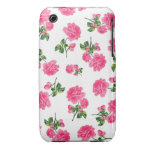 English garden pink roses iphone 3 case - white