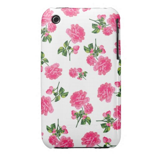 English garden pink roses iphone 3 case - white