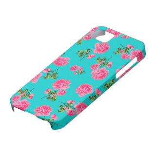 English garden pink roses iphone 5 case - teal