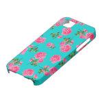 English garden pink roses iphone 5 case - teal