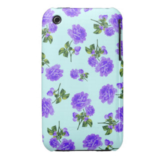 English garden purple roses iphone 3 case - blue