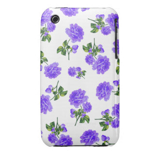 English garden purple roses iphone 3 case - white