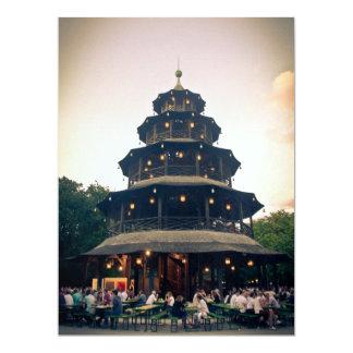English Garden tower, Munchen 6.5x8.75 Paper Invitation Card