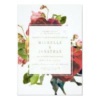 English Garden Vintage Roses Wedding Invitation
