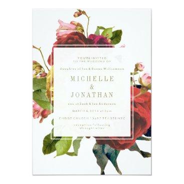 PhrosneRasDesign English Garden Vintage Roses Wedding Invitation