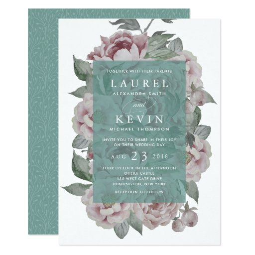 English Garden Wedding Invitation Jade