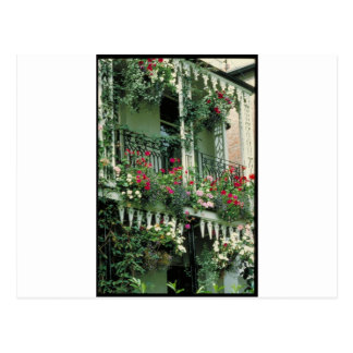 English garden & wrought iron postcard