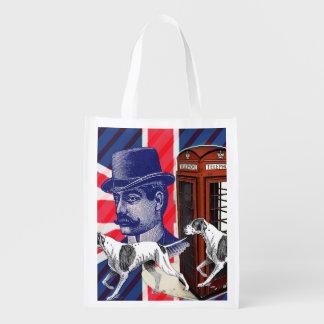 English Gentleman hunt dog british union jack flag Reusable Grocery Bag