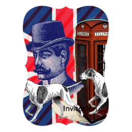 English Gentleman Telephone Booth union jack flag Card