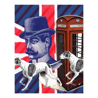 English Gentleman Telephone Booth union jack flag Letterhead