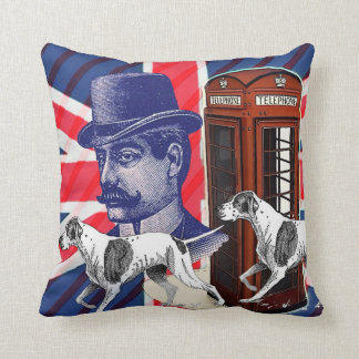 English Gentleman Telephone Booth union jack flag Throw Pillow