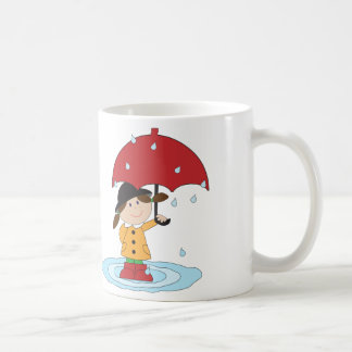English Girl with umbrella in rain Coffee Mug