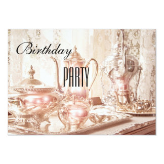 English High Tea Birthday Party Invitation