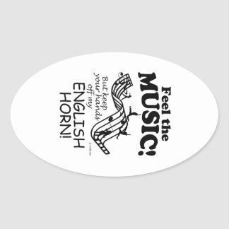 English Horn Feel The Music Oval Sticker