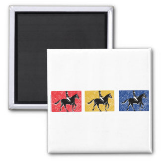 English Horse and Rider 2 Inch Square Magnet