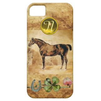 ENGLISH HORSE ,HORSESHOE AND SHAMROCK  MONOGRAM iPhone SE/5/5s CASE