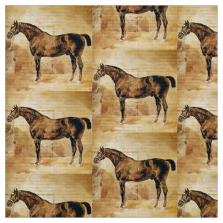 ENGLISH HORSE IN STABLE FABRIC