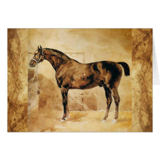 ENGLISH HORSE IN STABLE Parchment Card