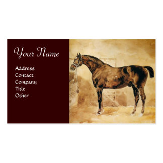 ENGLISH HORSE IN STABLE Parchment Monogram Business Card Templates