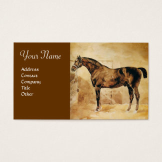 ENGLISH HORSE IN STABLE Parchment Monogram Business Card