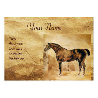 ENGLISH HORSE IN STABLE Parchment Monogram Business Cards