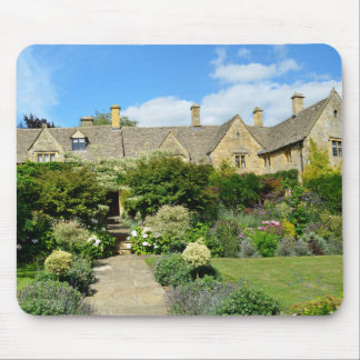 English house with flower garden mouse pad