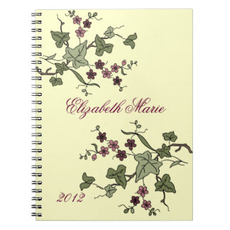 English Ivy Purple Flowers-Name Notebooks