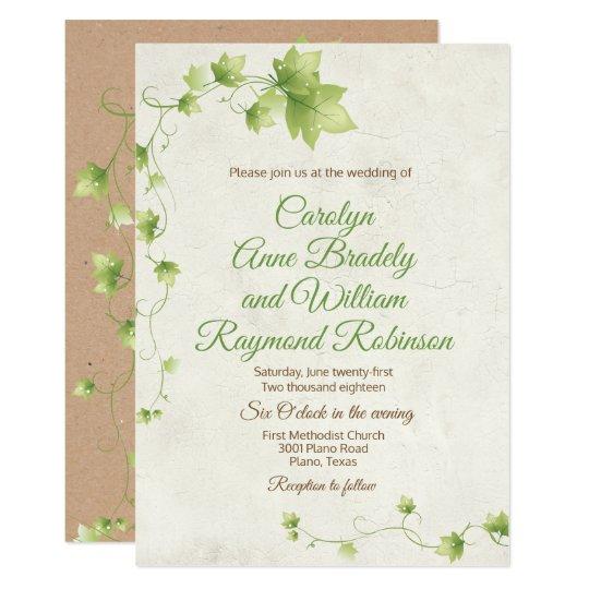 english ivy wedding invitation  zazzle
