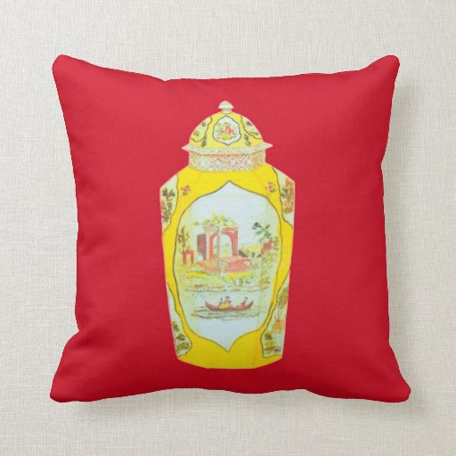 ENGLISH JAR PILLOW RED