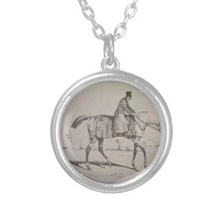 English Jockey by Theodore Gericault Round Pendant Necklace
