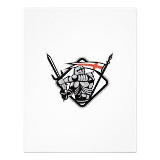 English Knight Fighting Sword England Flag Retro Custom Announcement