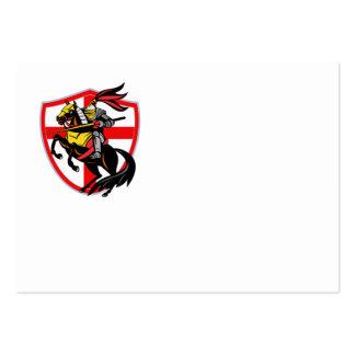 English Knight Lance England Flag Shield Retro Business Card Template