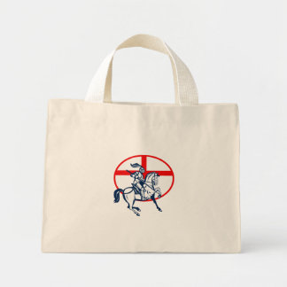 English Knight Riding Horse England Flag Circle Re Tote Bags