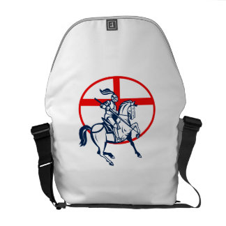 English Knight Riding Horse England Flag Circle Re Courier Bags