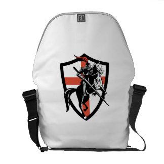 English Knight Riding Horse England Flag Retro Messenger Bag