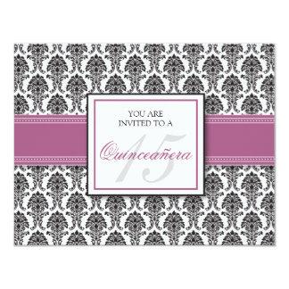 """ENGLISH Lavender Damask Quinceanera Invitation 4.25"""" X 5.5"""" Invitation Card"""