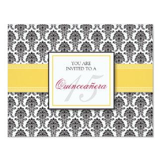 ENGLISH Lemon Yellow Damask Quinceanera Invitation