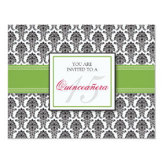 ENGLISH Lime Green Damask Quinceanera Invitation