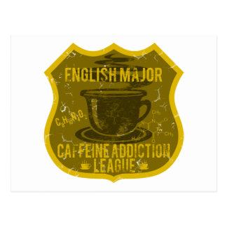 English Major Caffeine Addiction League Postcard